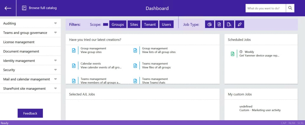 AJL-dashboard-sapio365 microsoft office 365 management
